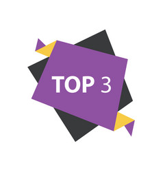 Top3 text in label purple yellow black vector