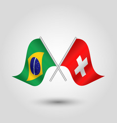 Two crossed brazilian and swiss flags vector