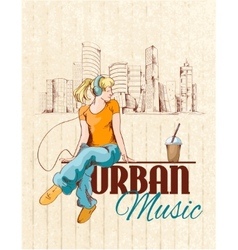 Urban music poster vector