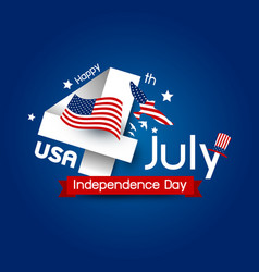 usa 4 july happy independence day design vector image vector image