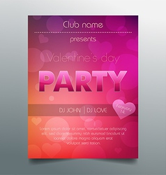 Valentines day party flyer template - purple vector image