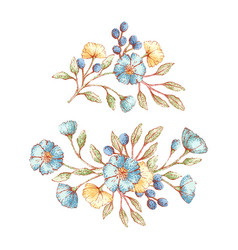 Vintage floral bouquets vector
