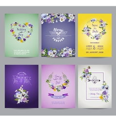Vintage Pansy Flowers Card Set - for Wedding vector