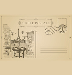 vintage postcard with street cafe and eiffel tower vector image