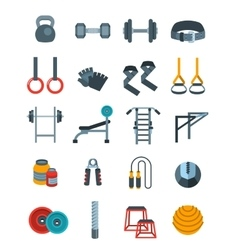 Weightlifting flat icons set vector