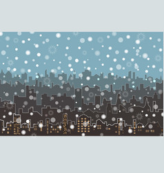 winter cityscape with snowflakes lights vector image