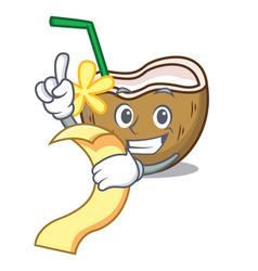 With menu cocktail coconut mascot cartoon vector