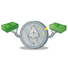 With money ethereum coin character cartoon vector