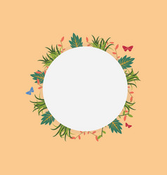 Wreath frame with spring flower vector