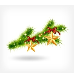 Background with decorated christmas green spruce vector