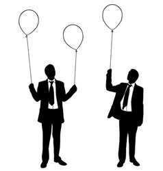 businessmen holding balloons vector image vector image