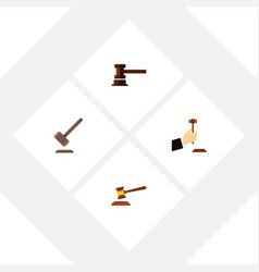 flat icon hammer set of tribunal hammer law and vector image vector image