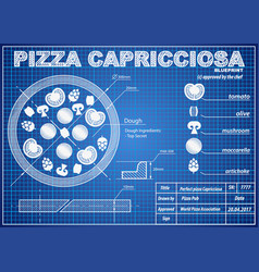 pizza capricciosa ingredients blueprint scheme vector image