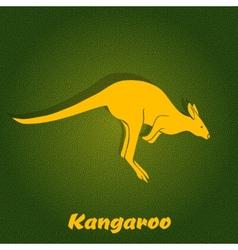Yellow kangaroo silhouette vector image