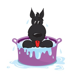 Funny puppy in the bath vector image