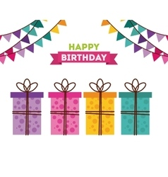 happy birthday to you celebration poster vector image vector image