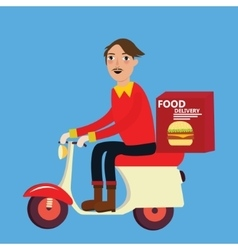 man delivery fast food burger scooter motor cycle vector image vector image