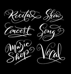 music and song hand written typography vector image