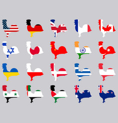 Roosters with flags of different countries vector