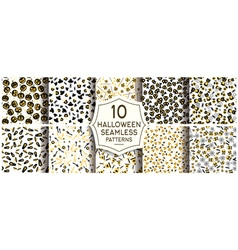 Set of 10 halloween seamless patterns vector image