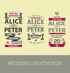 Set of wedding stamps invitations vector image