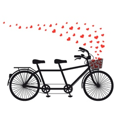 tandem bicycle with red hearts vector image vector image