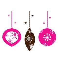 christmas retro ornamental balls collection vector image vector image