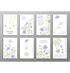 collection of cute invitation cards with flowers vector image
