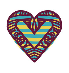 colorful abstract heart shape with lines pattern vector image