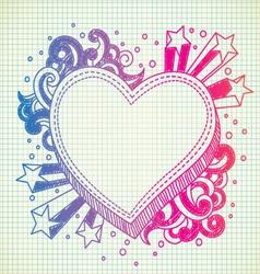 heart doodle vector image vector image