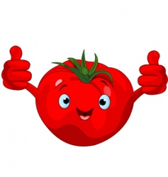 tomato character giving thumbs up vector image vector image