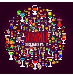 Tropical cocktails vacation party poster vector image vector image