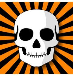 White skull on black orange beams vector image vector image