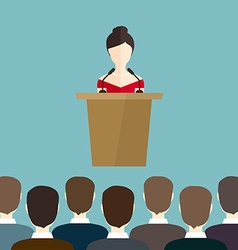 Business woman makes a speech on the podium vector image