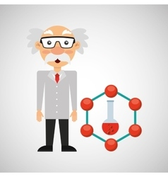 character man scientist test tube design vector image vector image