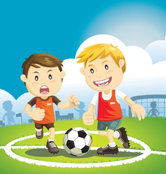 children playing soccer outdoors vector image