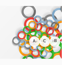 geometrical circles on white with shadows vector image