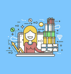 woman in laptop notebook with vector image