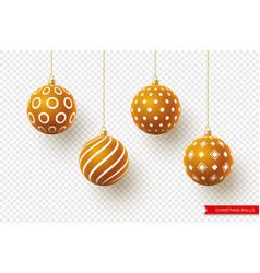 3d christmas brown balls with geometric pattern vector