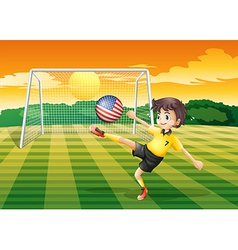A lady player kicking the ball with the flag of vector image