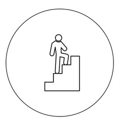 a man climbing stairs icon black color in circle vector image
