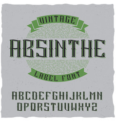 Absinthe label font and sample label design vector