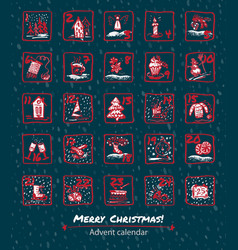 Advent calendar 25 days of christmas set icons vector