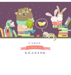 Animals reading books on bookshelves vector image