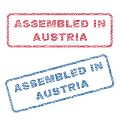 Assembled in austria textile stamps vector