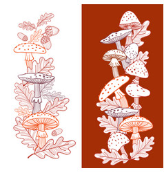 autumn postcard of mushrooms fly agarics and oak vector image