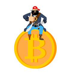 Bitcoin and pirate filibuster on web coin illegal vector