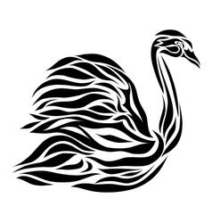 Black floral swan background vector