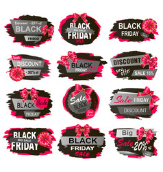 Black friday sales and discounts promo banners vector