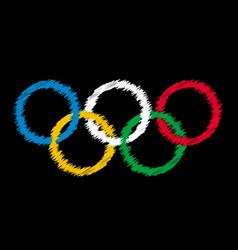 Blackboard olympic rings vector